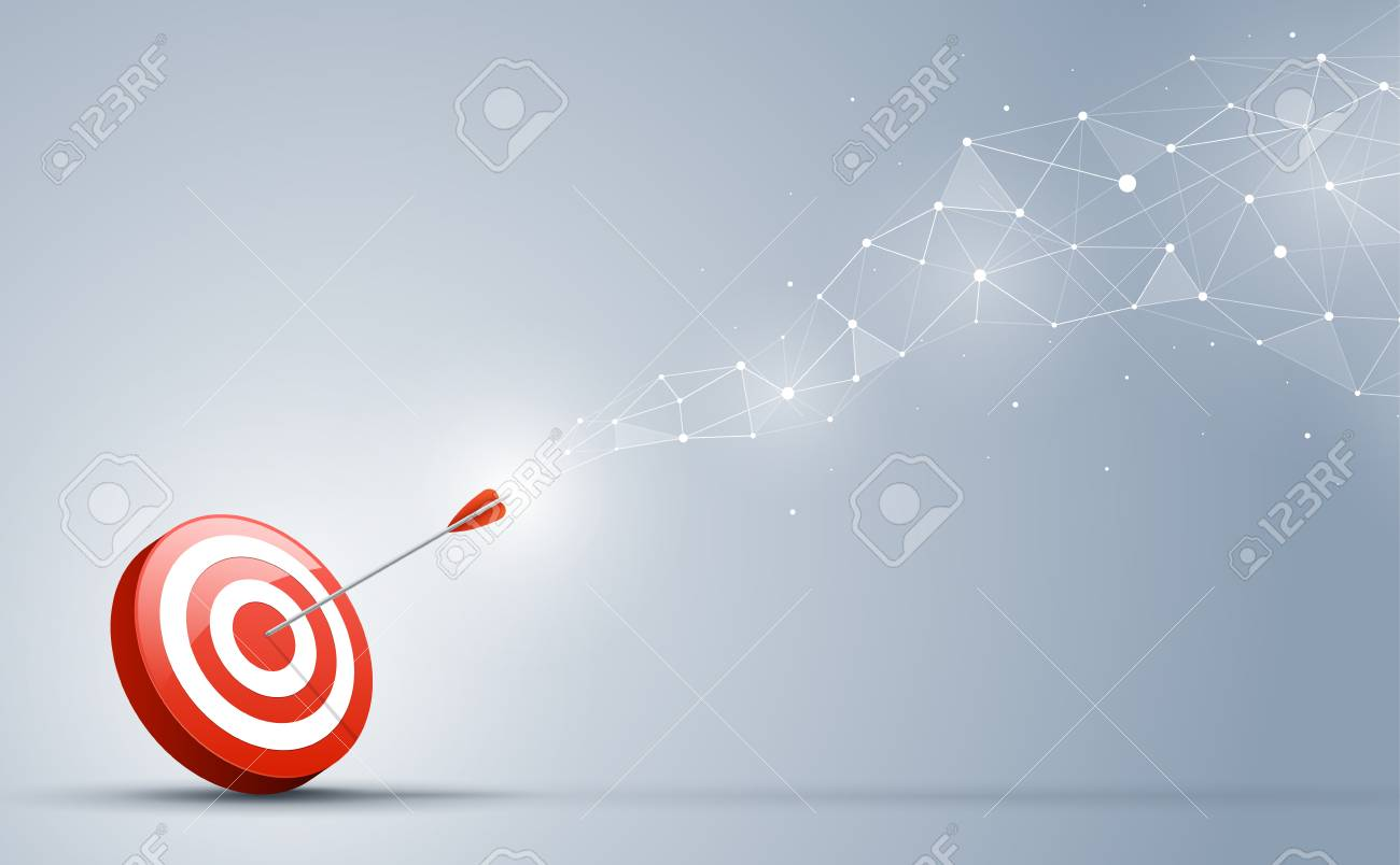 Target hitting in the center by the arrow. Goal direction and connection on the business concept. - 101248760