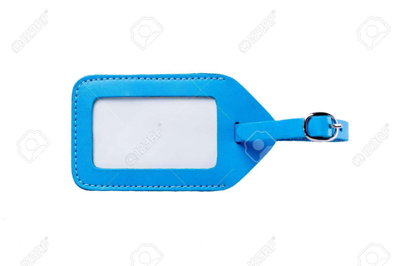 ea09b8a4ee59 blue leather luggage tag isolated on white background