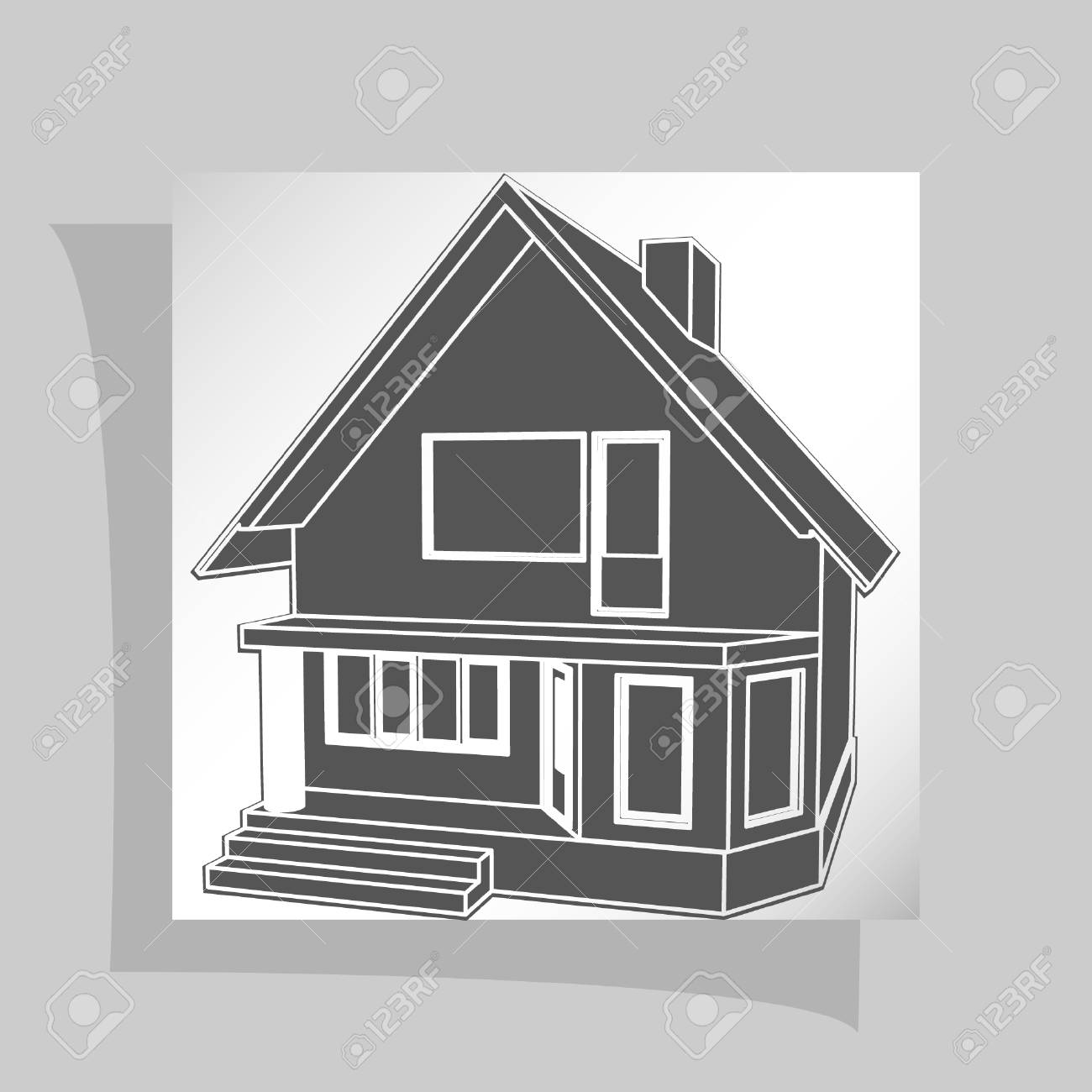 Building Perspective 3D. Drawing Of The Suburban House. House 3D Model  Perspective Vector Stock