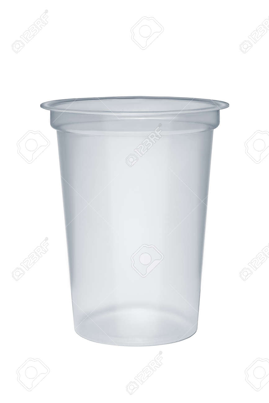 Empty plastic takeaway cup isolated on white background - 122188594