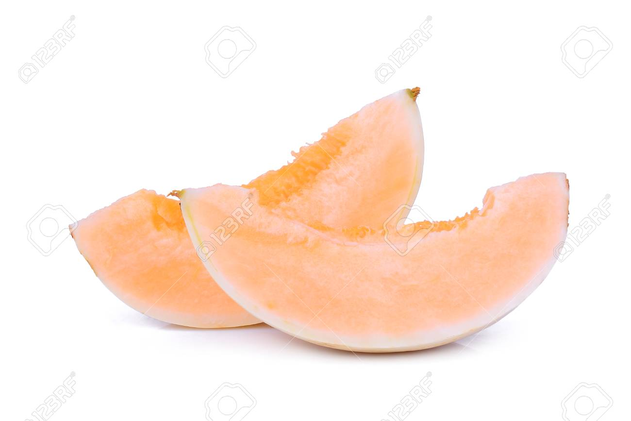 two sliced honeydew melon sunlady isolated on white background