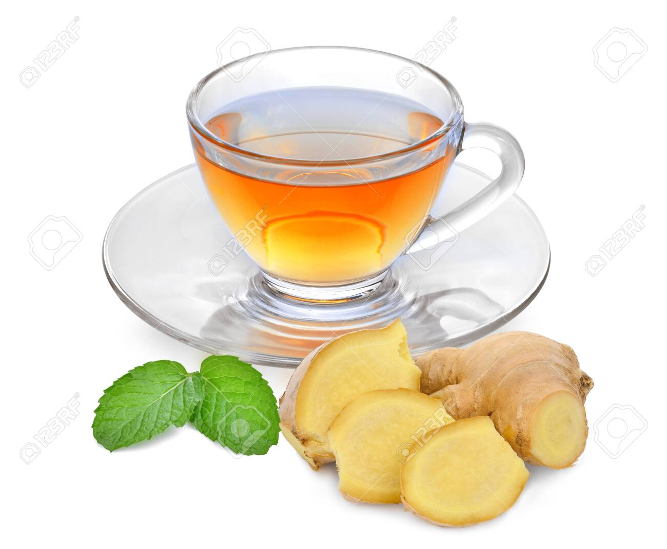 Hot Ginger Tea With Ginger Root And Mint Leaf Isolated On White ...
