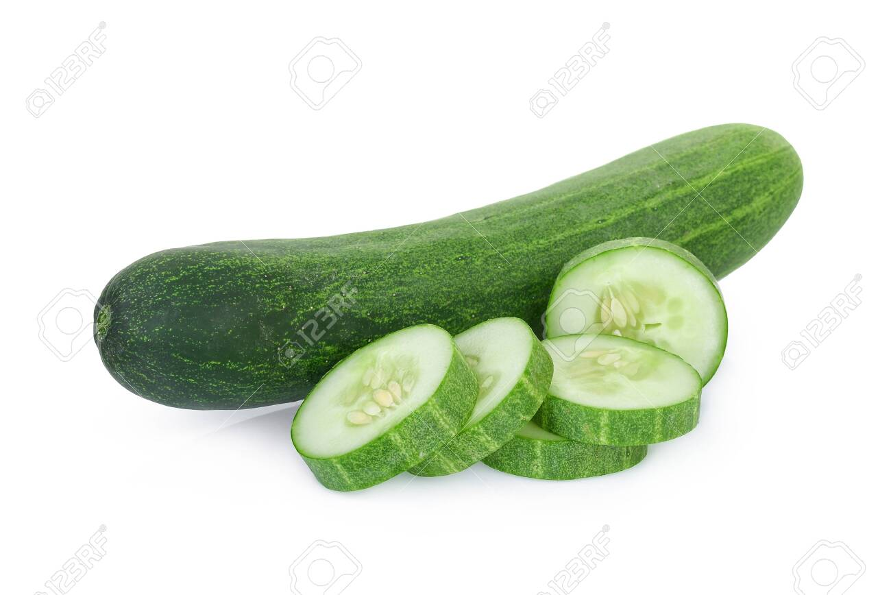fresh cucumber with slices isolated on white background - 126564175