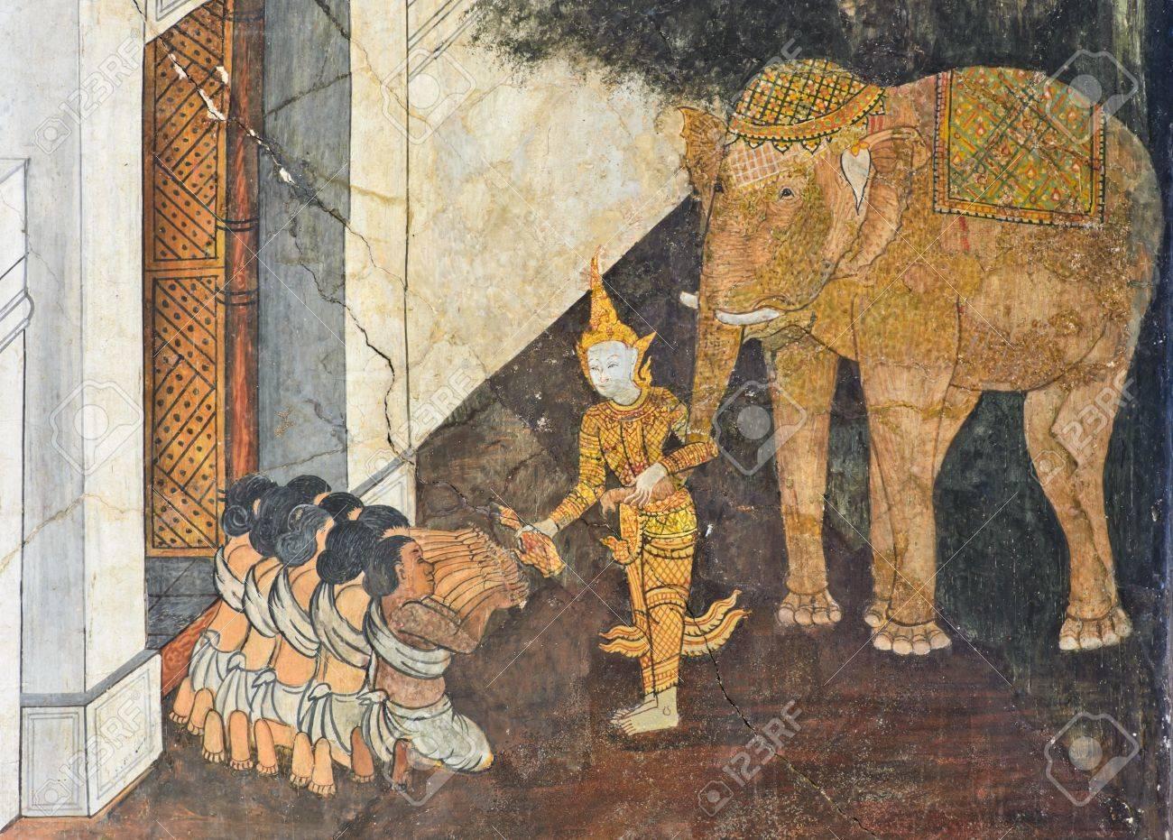 native thai mural depict a previous life of buddha stock photo native thai mural depict a previous life of buddha stock photo 15950889
