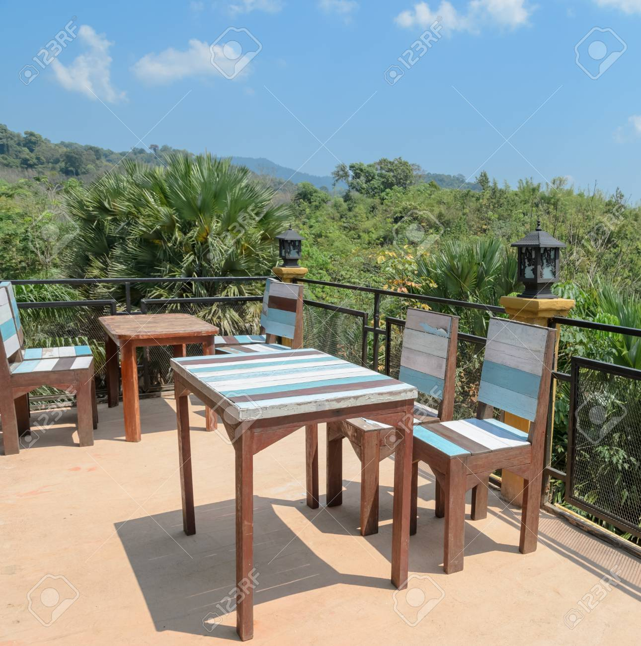 Superieur Outdoor Deck And Patio Furniture With Mountain View. Southern Thailand  Stock Photo   43295969