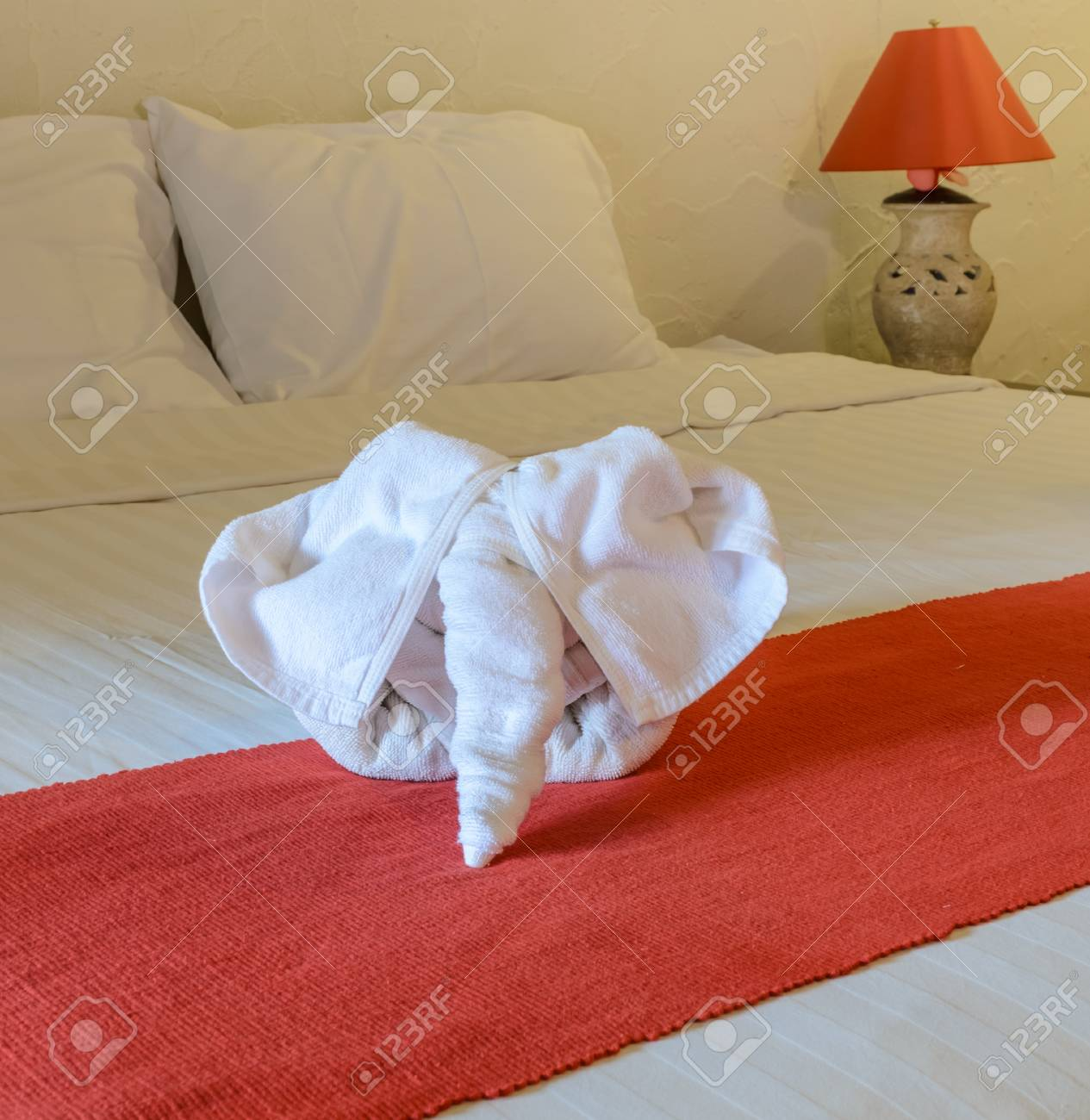 White Towel In Elephant Shape On White Bed In Thai Style Hotel Stock Photo Picture And Royalty Free Image Image 43355542