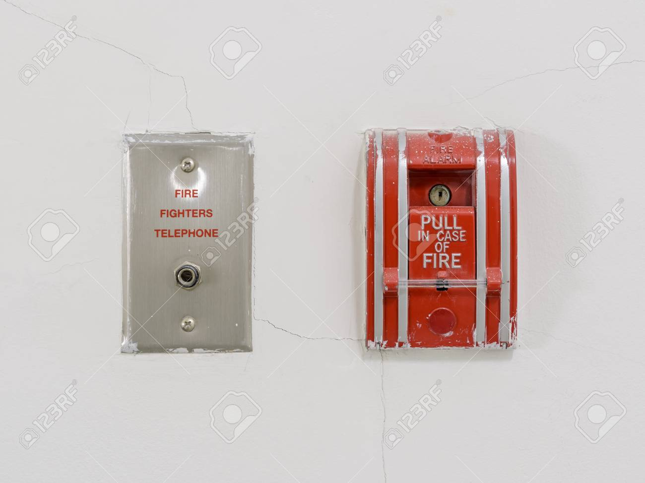 Fire Alarm Pull Station On White Cracked Wall Stock Photo, Picture ...
