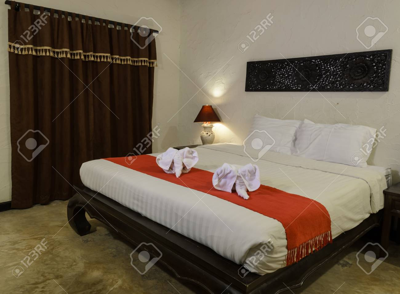 White Towel In Elephant Shape On White Bed In Thai Style Hotel Stock Photo Picture And Royalty Free Image Image 49908409
