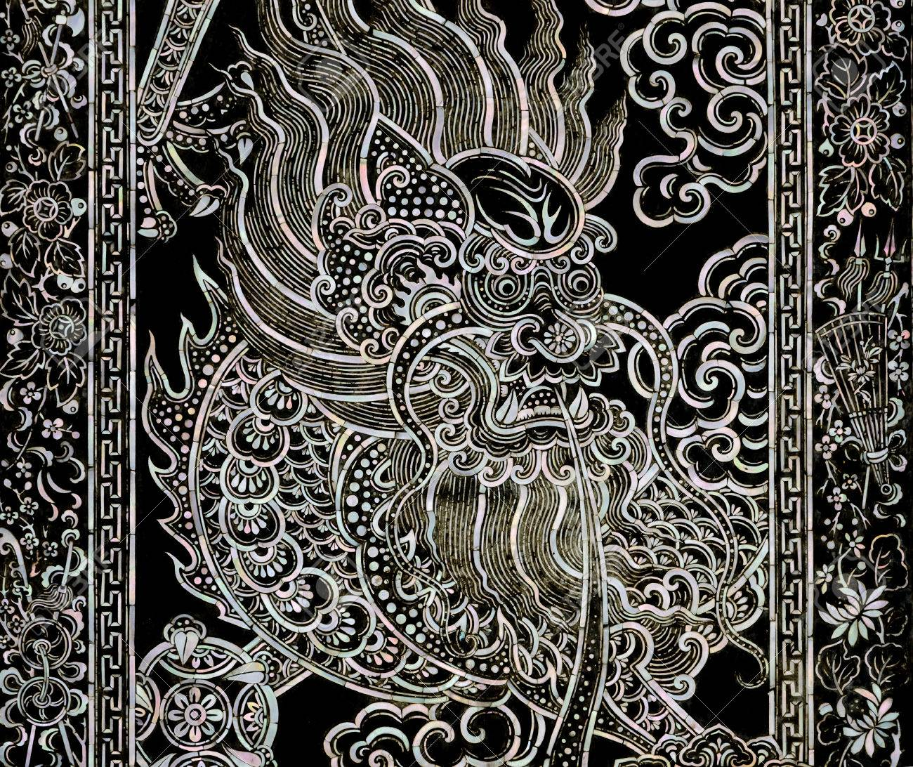 ancient chinese dragon art with mother of pearl inlay on temple