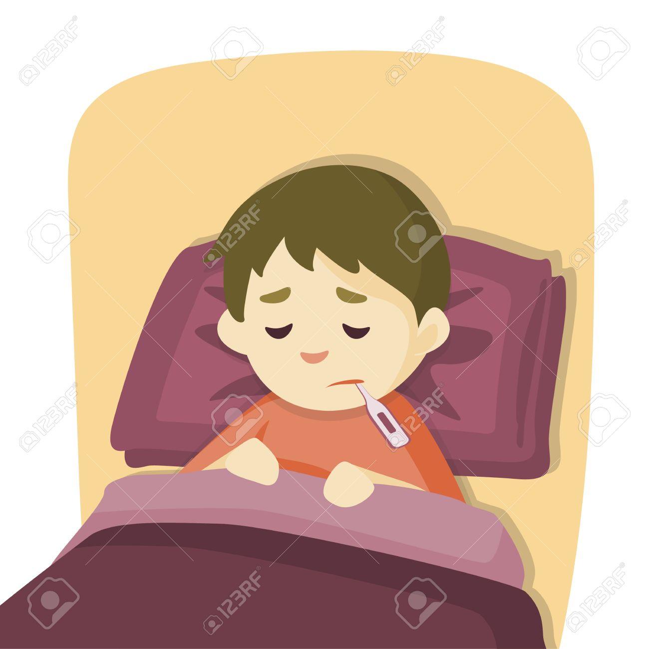 Krankes Kind Junge Mit Einem Thermometer In Den Mund Im Bett Liegen