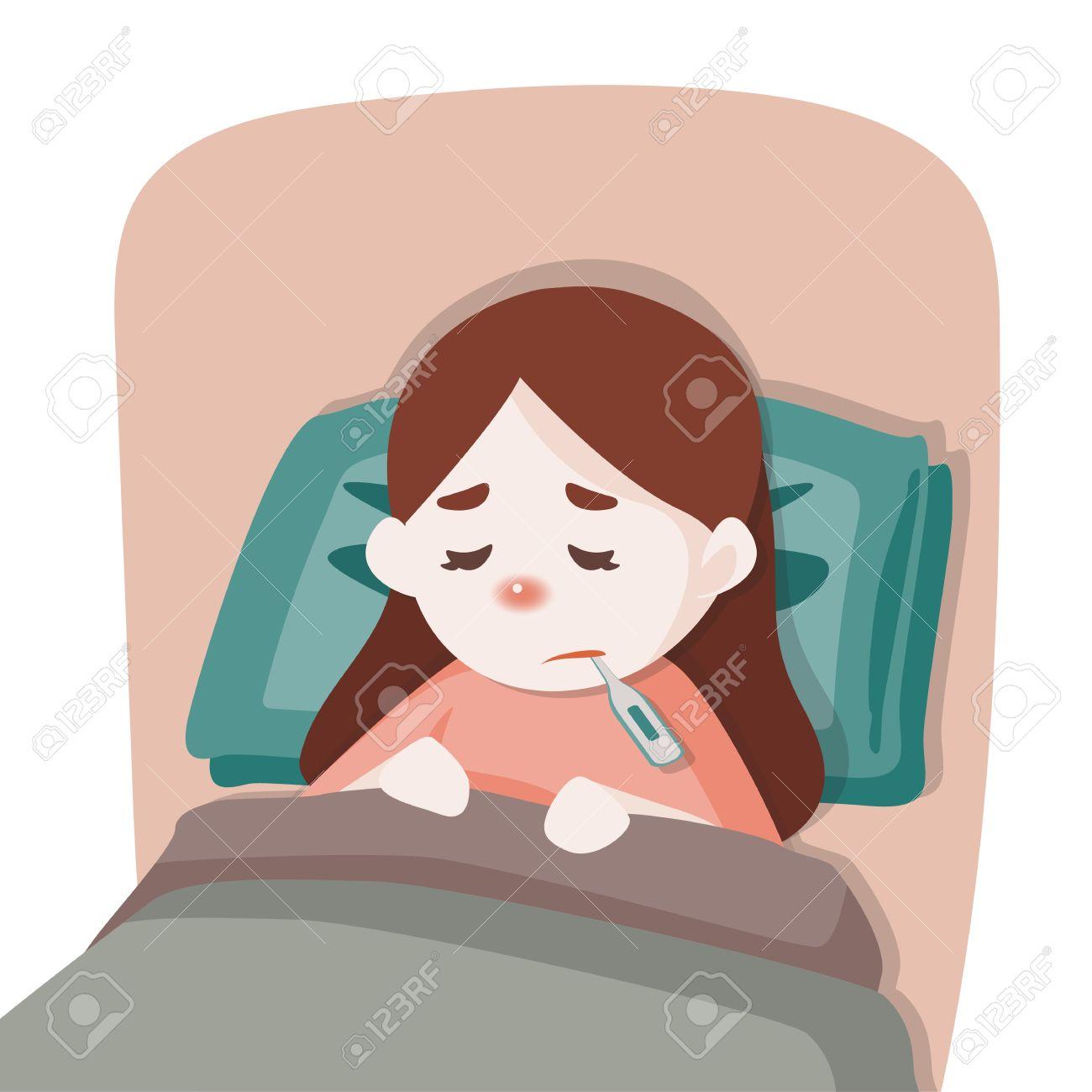 Krankes Kind Madchen Mit Einem Thermometer In Den Mund Im Bett