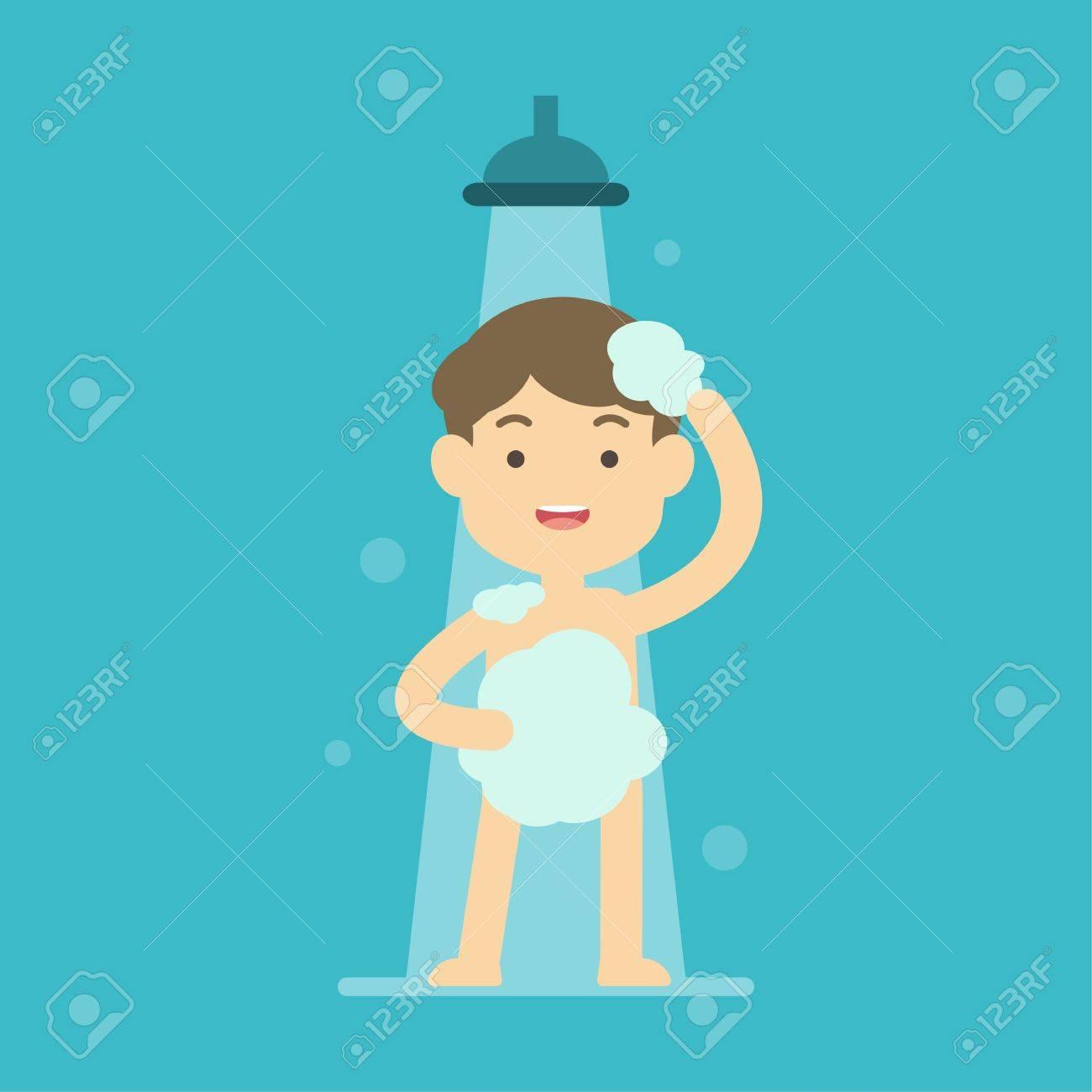 Happy boy taking shower in bathroom concept, Flat vector illustration. - 87441647