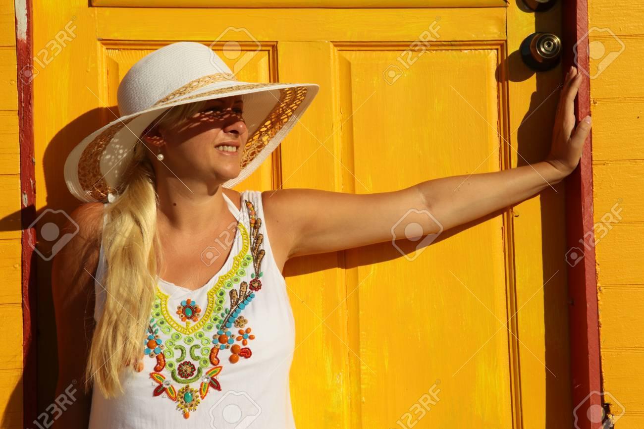 64f38b8db Women With White Sun Hat Sunny Day Stock Photo
