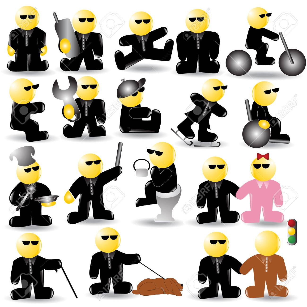 there are blind or businessman  icon character Stock Vector - 7179020