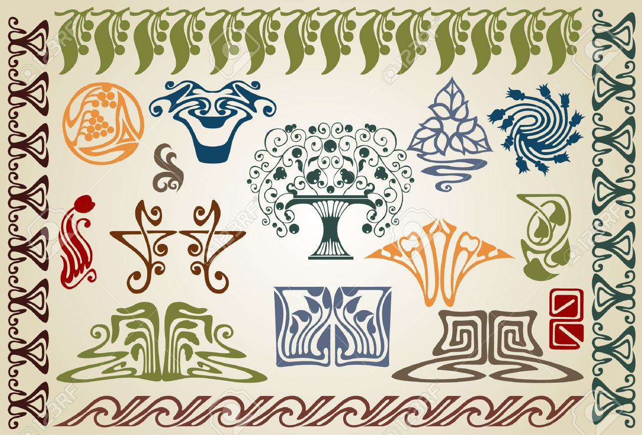 there are art nouveau plants and ellements Stock Vector - 7179017