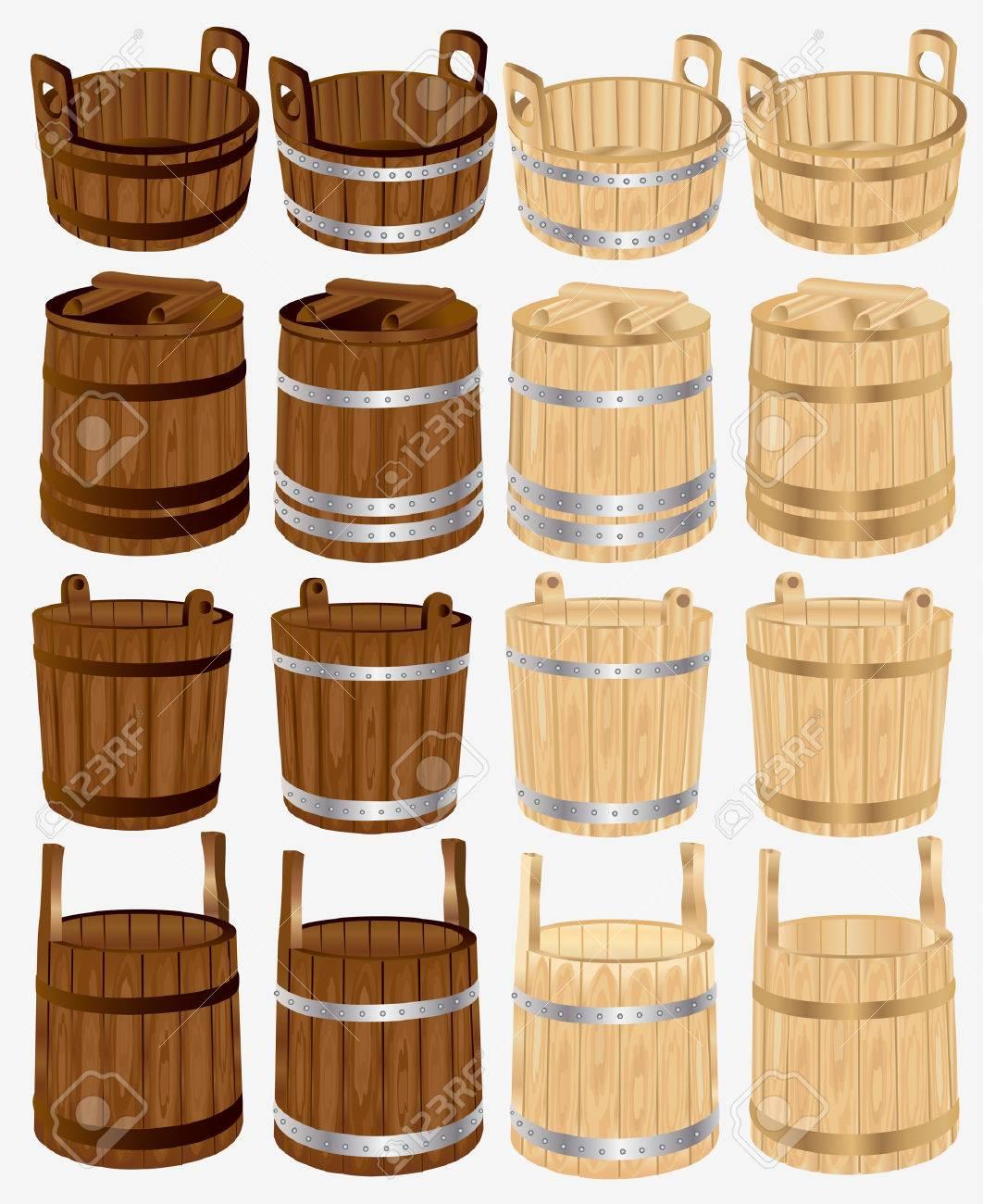 barrel bucket pail tub wood Stock Vector - 8142484