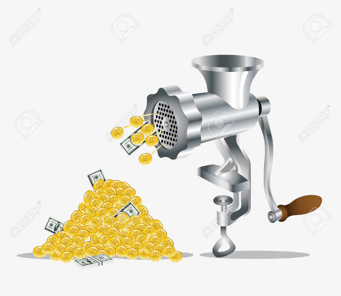 gold money dollar meat mincer Stock Vector - 8142496