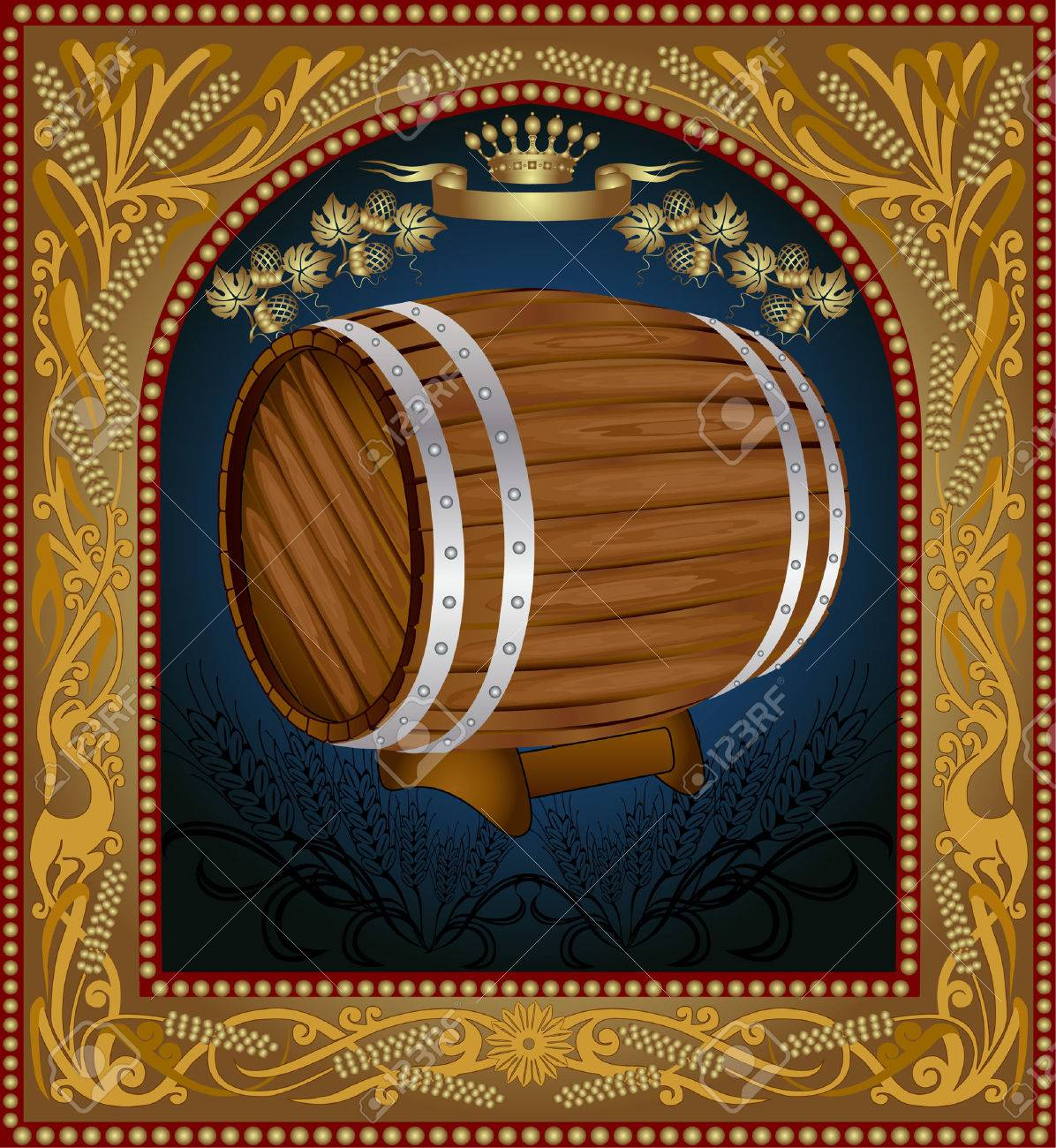 there is a barrel of beer with grain into pattern frame Stock Vector - 8622944