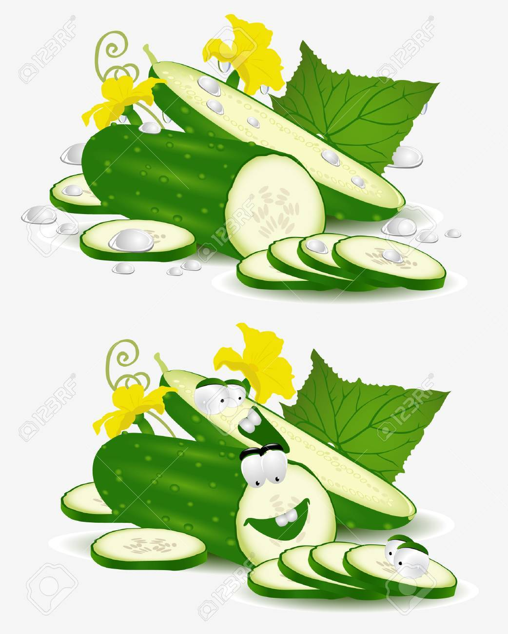vegetable character cucumber on white background Stock Vector - 8654946