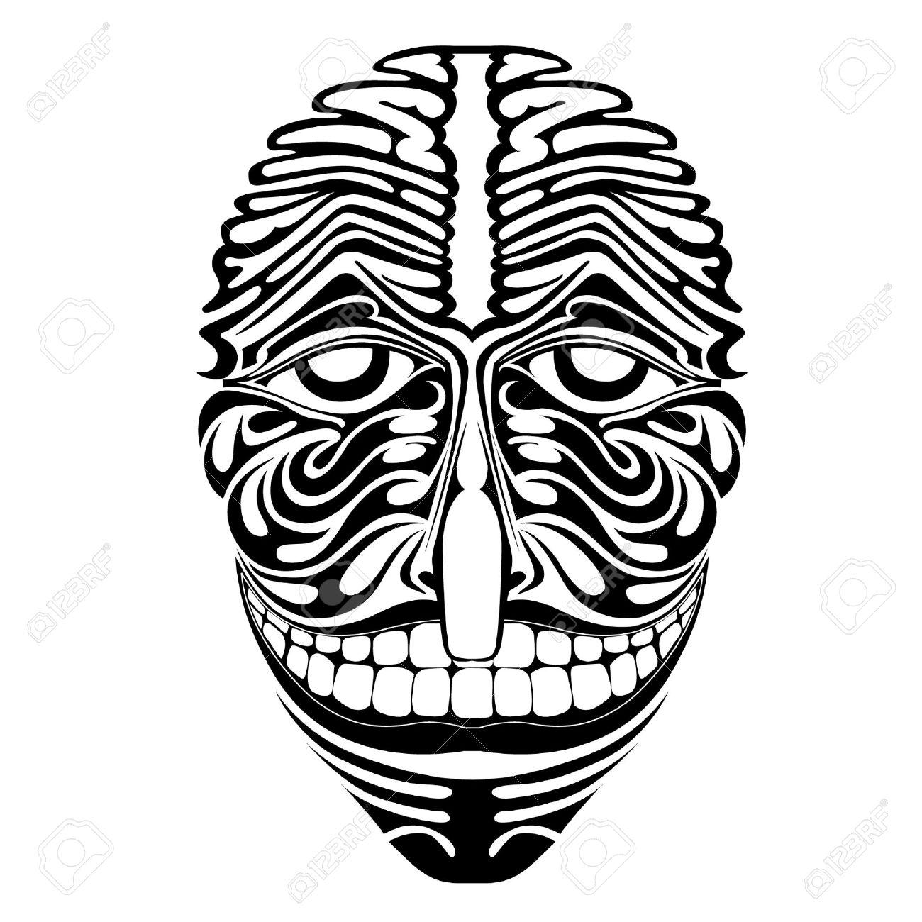 Spirit Demon Joker Face Silhouette Royalty Free Cliparts Vectors