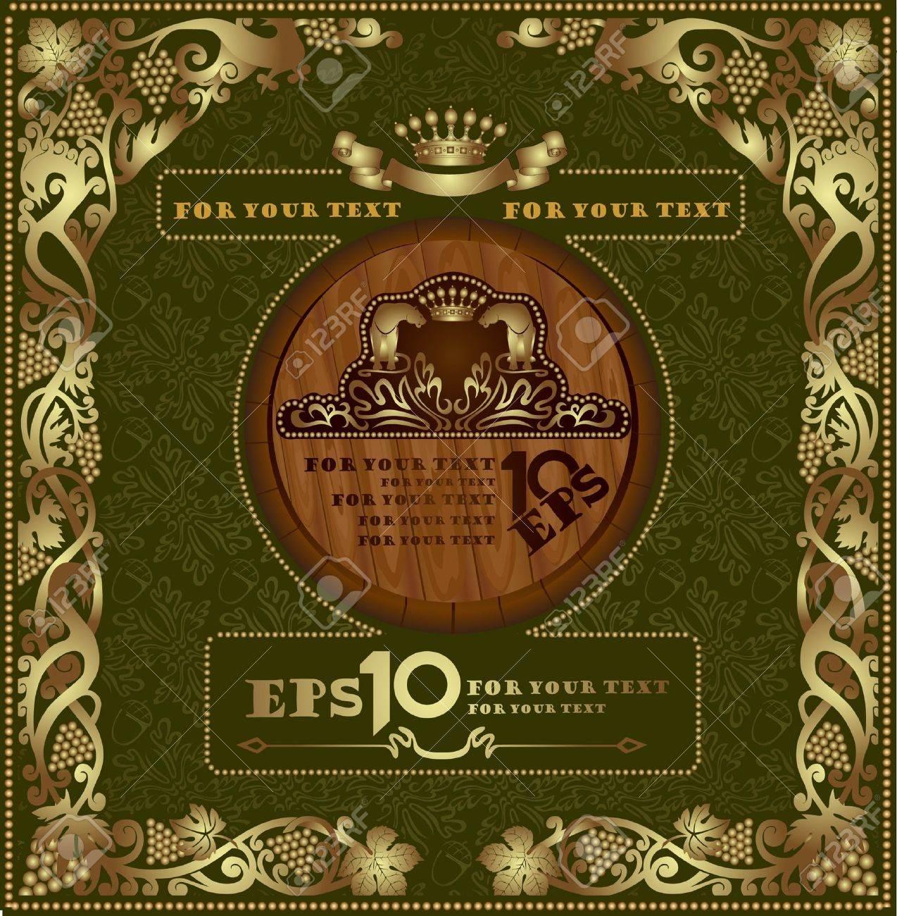 cognac luxury background label banner gold oak advertising Stock Vector - 10107887