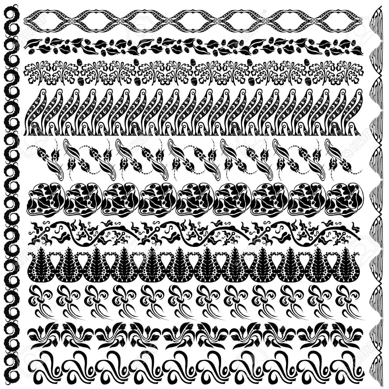 art nouveau silhouette pattern edge element Stock Vector - 12186009
