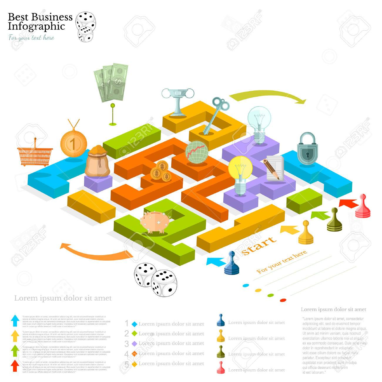 Flat Business Maze Infographic Background With Finanial Board