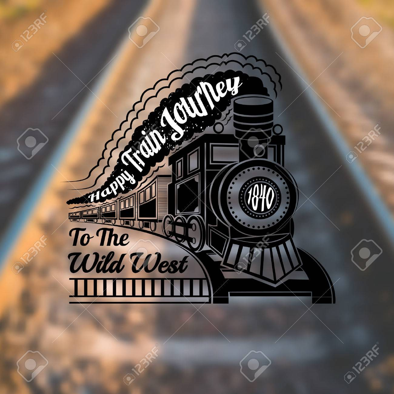 train background with old locomotive with wagons and text happy train journey in smoke label on rails blur photo - 37117229