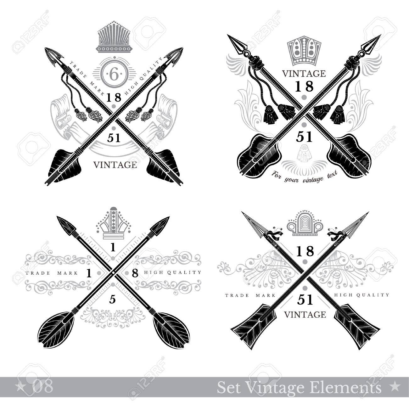 Set of cross arrows with pattern element. Hipster vintage style templates  for business, labels