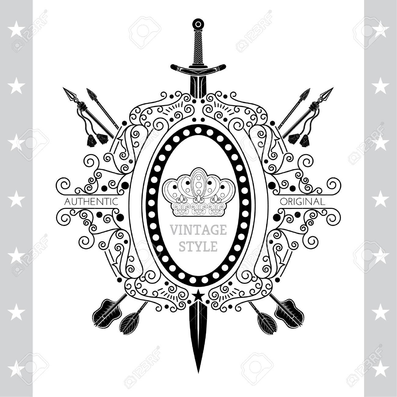 Costa De La Vendimia De Armas Con El Patrón De Línea Aislado En ...