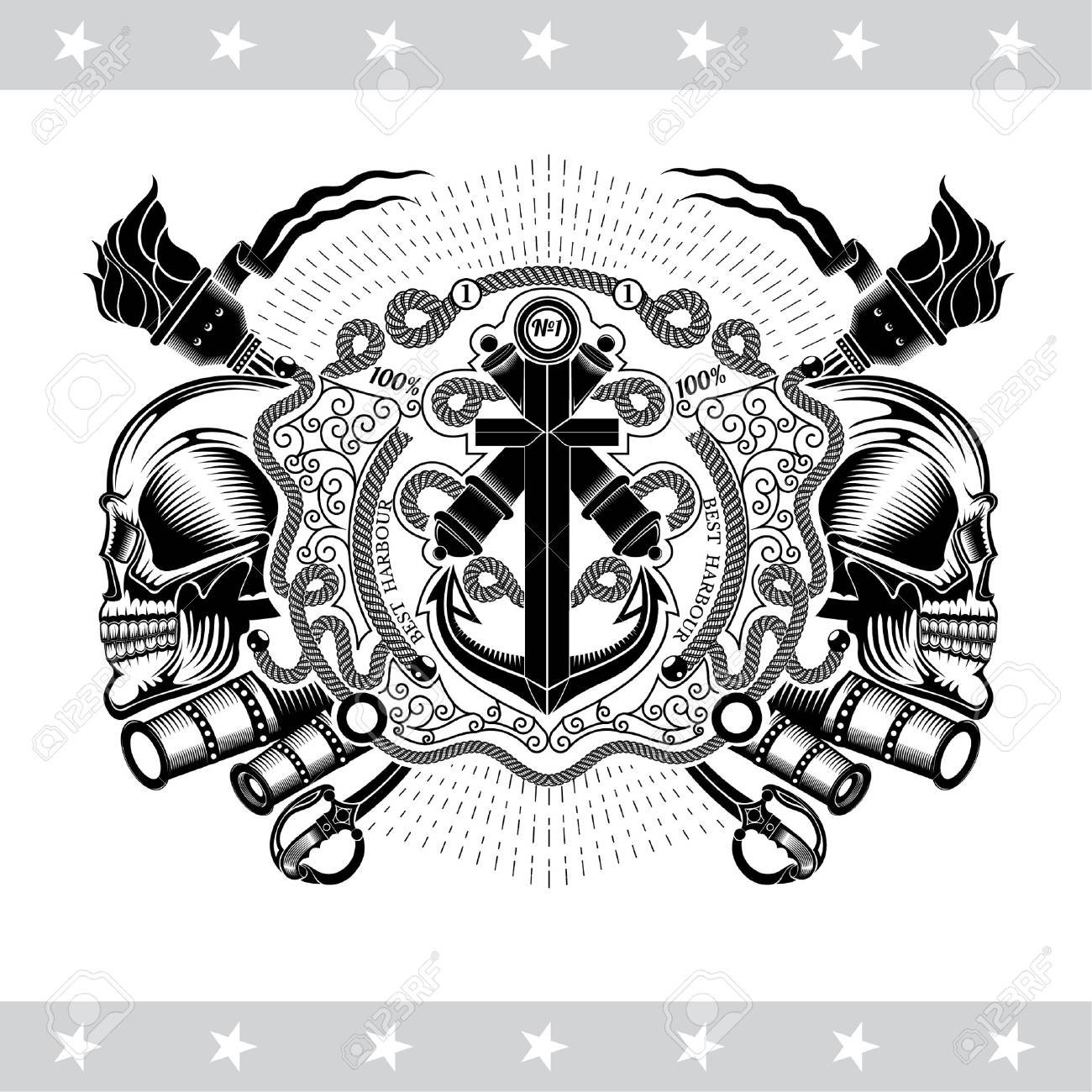 two cross cannon with anchor between skull profile and vintage I Beam Screw two cross cannon with anchor between skull profile and vintage weapons marine label isolated