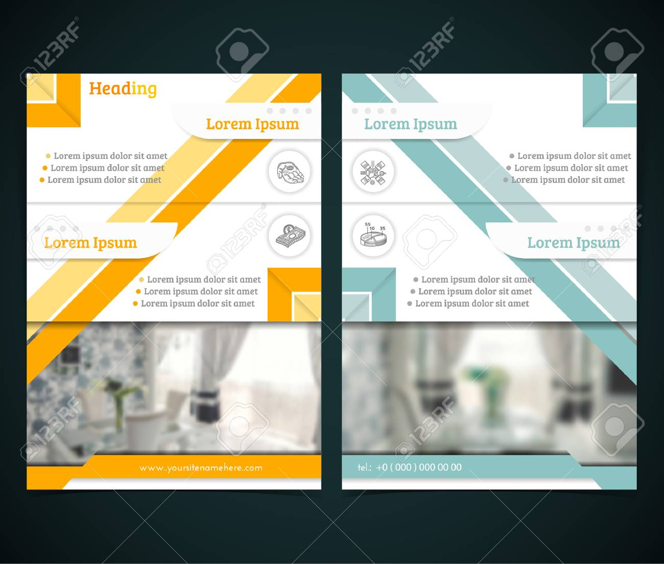 two sided brochure or flyer template design with interior blurred