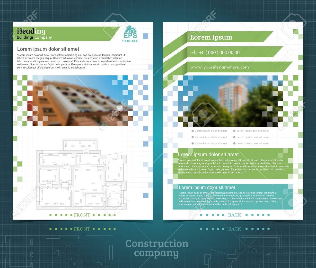 two sided brochure or flyer template design with exterior blurred