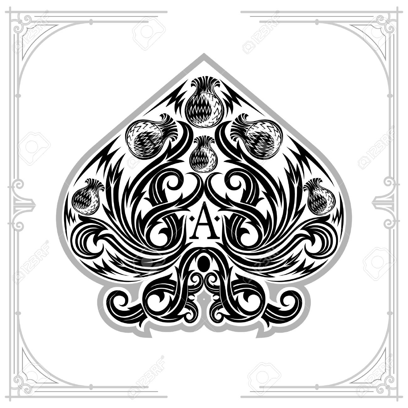 Ace of spades from thistle pattern inside black on white stock vector 95247941