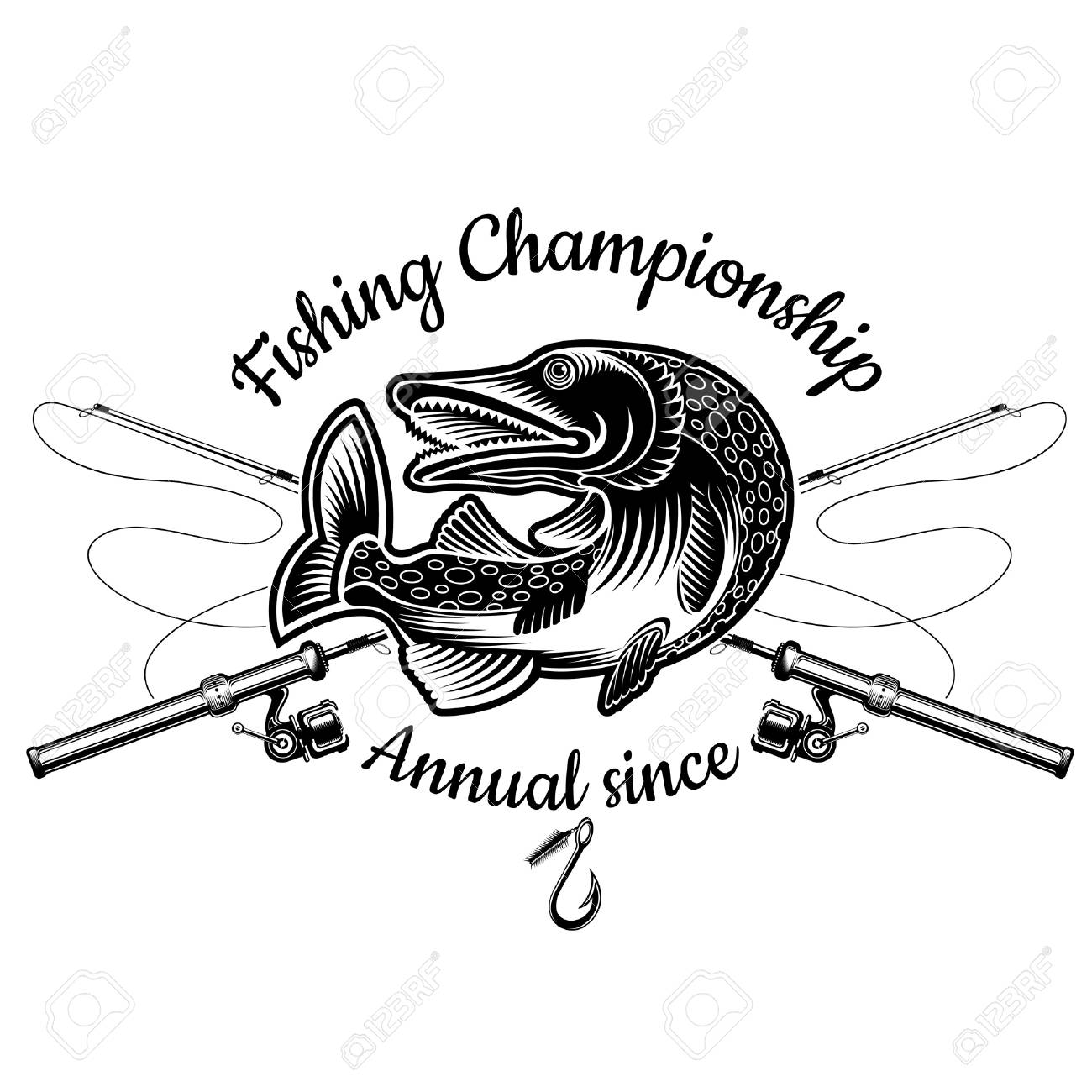 Pike Fish Bend With Crossed Fishing Rod In Engrving Style Logo Royalty Free Cliparts Vectors And Stock Illustration Image 121504961