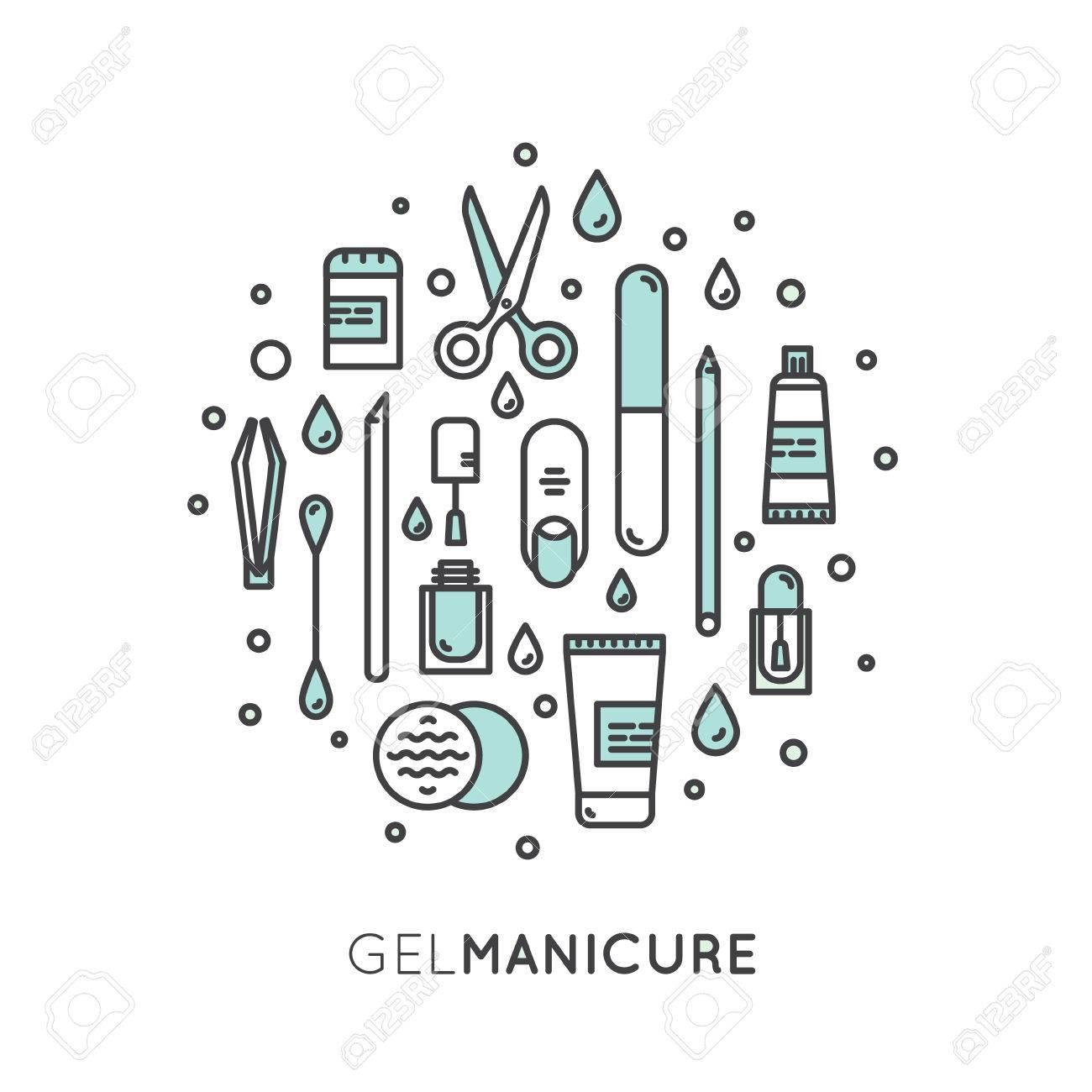 Vector Icono Estilo Ilustracin Concepto De Gel Manicura Saln De