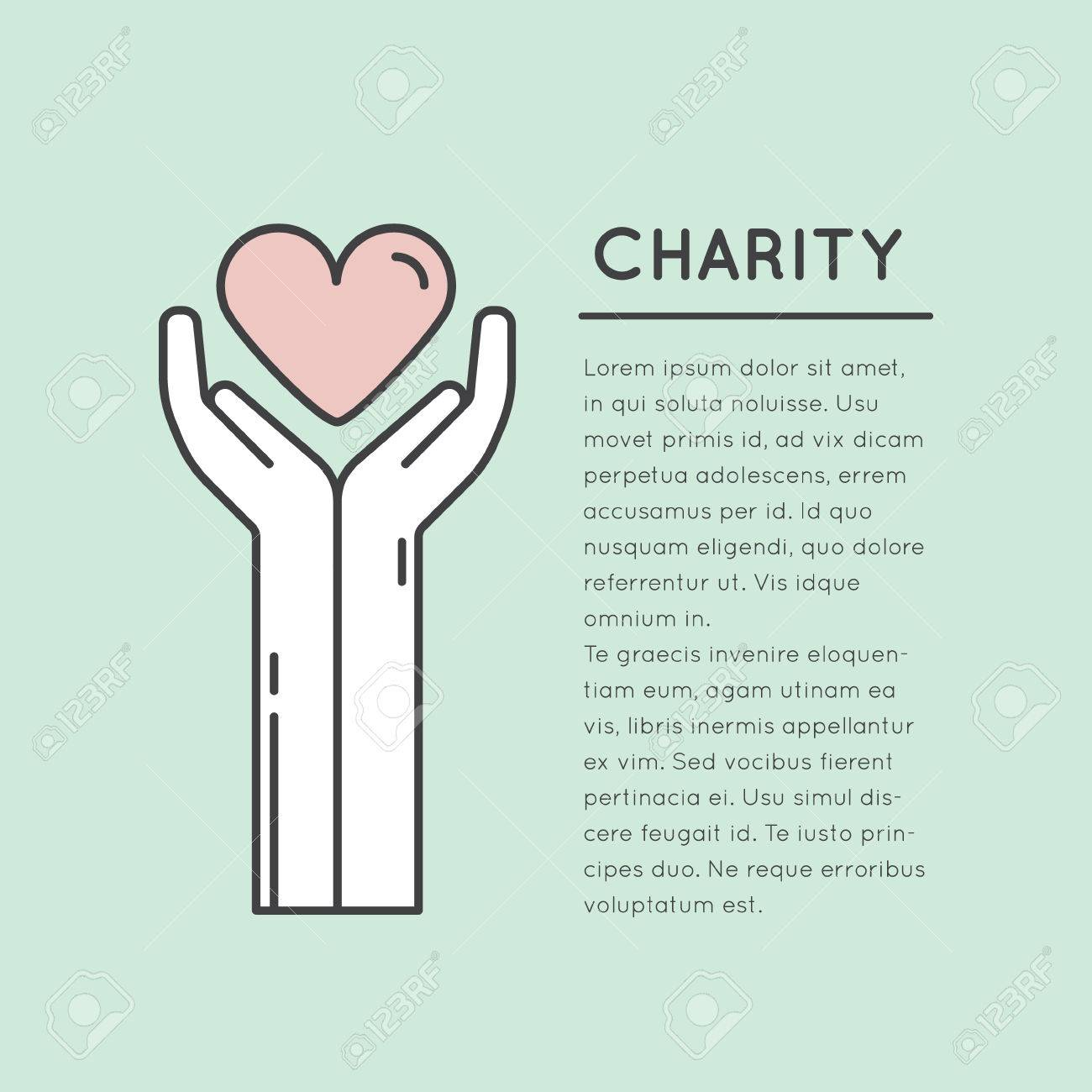 vector icon style illustration card or poster template with charity
