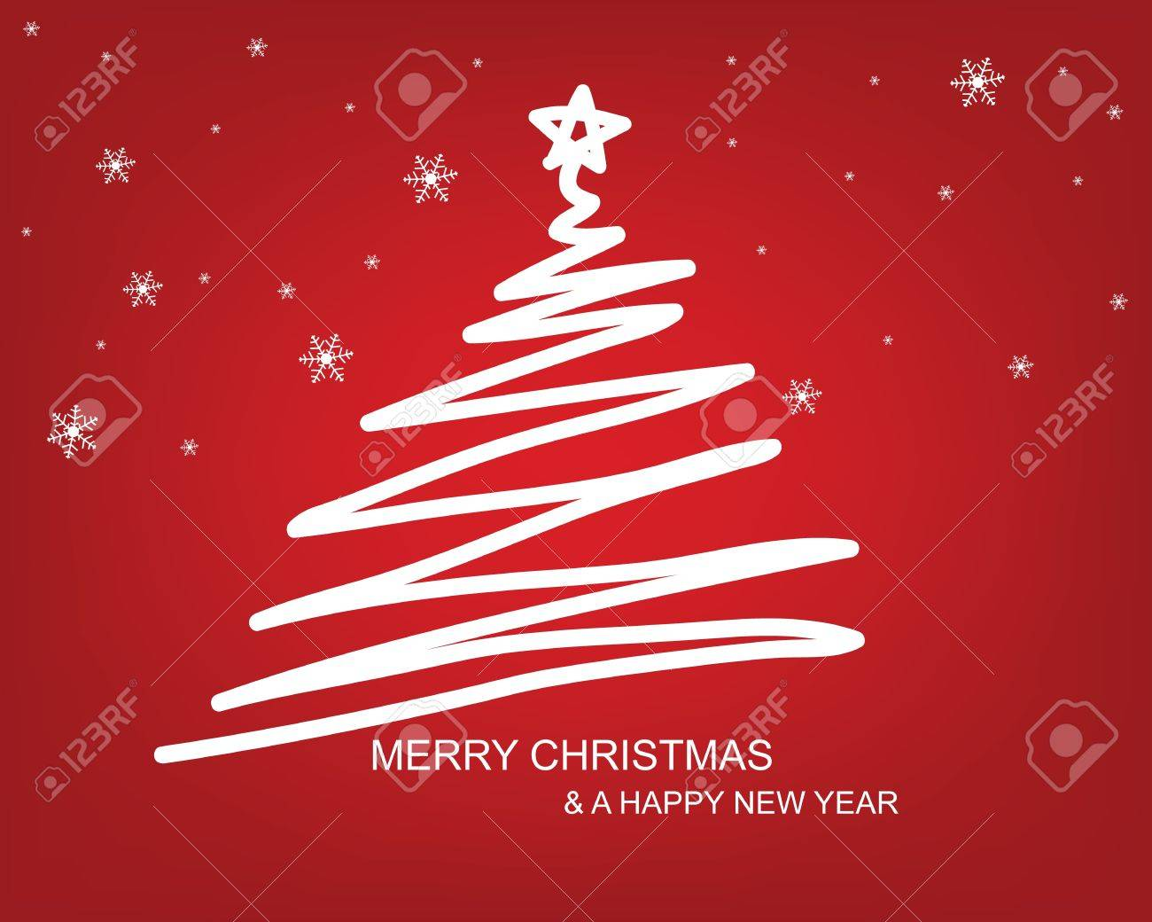 christmas tree draw with red background royalty free cliparts