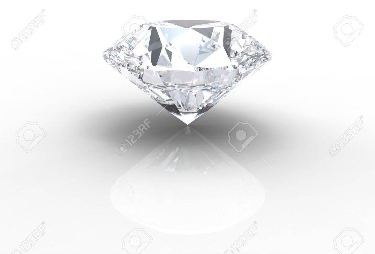 diamond gemstone isolated on white with shadows Stock Photo - 6287012