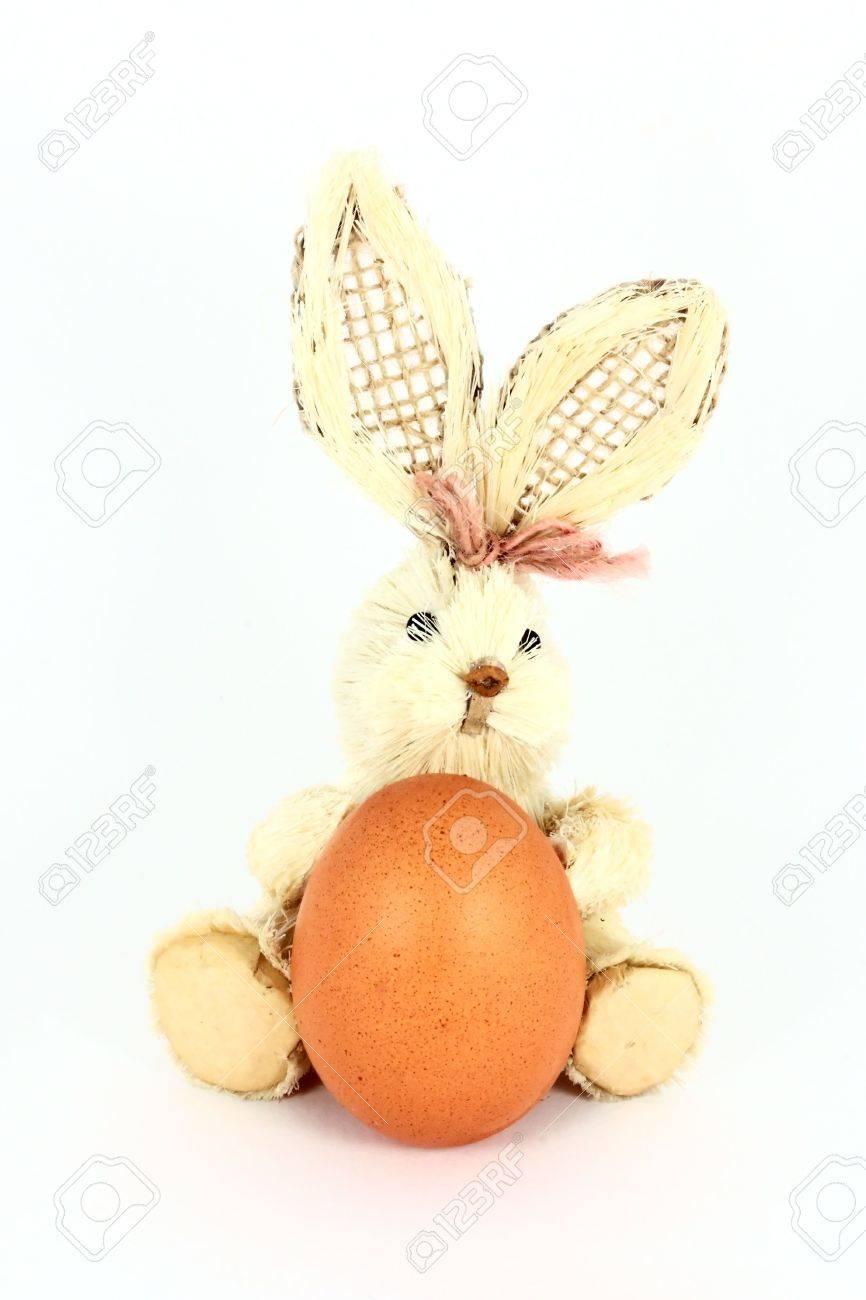 Easter decoration with egg and rabbit, isolated on white Stock Photo - 6361531