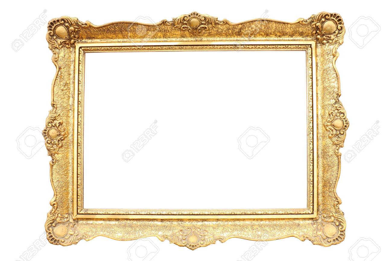 Gold plated wooden picture frame isolated on white Stock Photo - 6484351