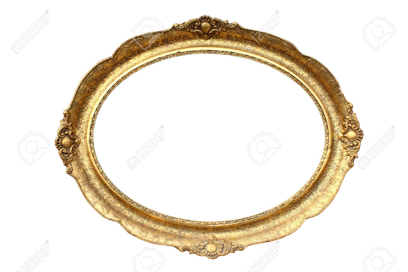 Gold plated wooden picture frame isolated on white Stock Photo - 6568114