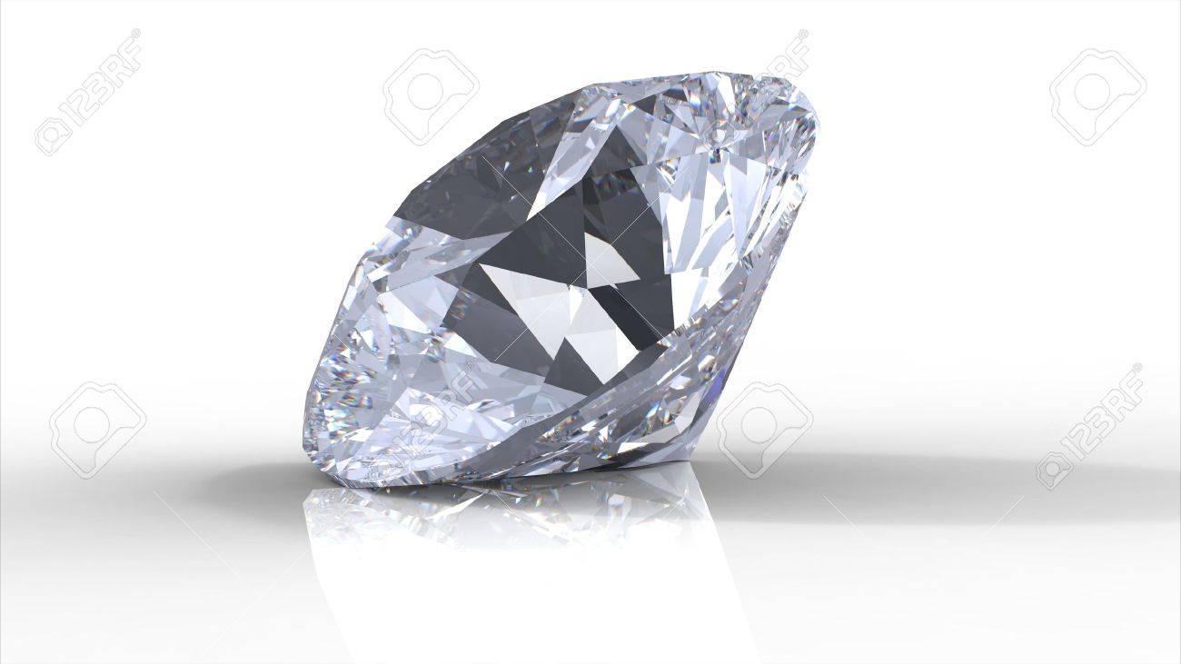 diamond gemstone isolated on white with shadows Stock Photo - 6643215