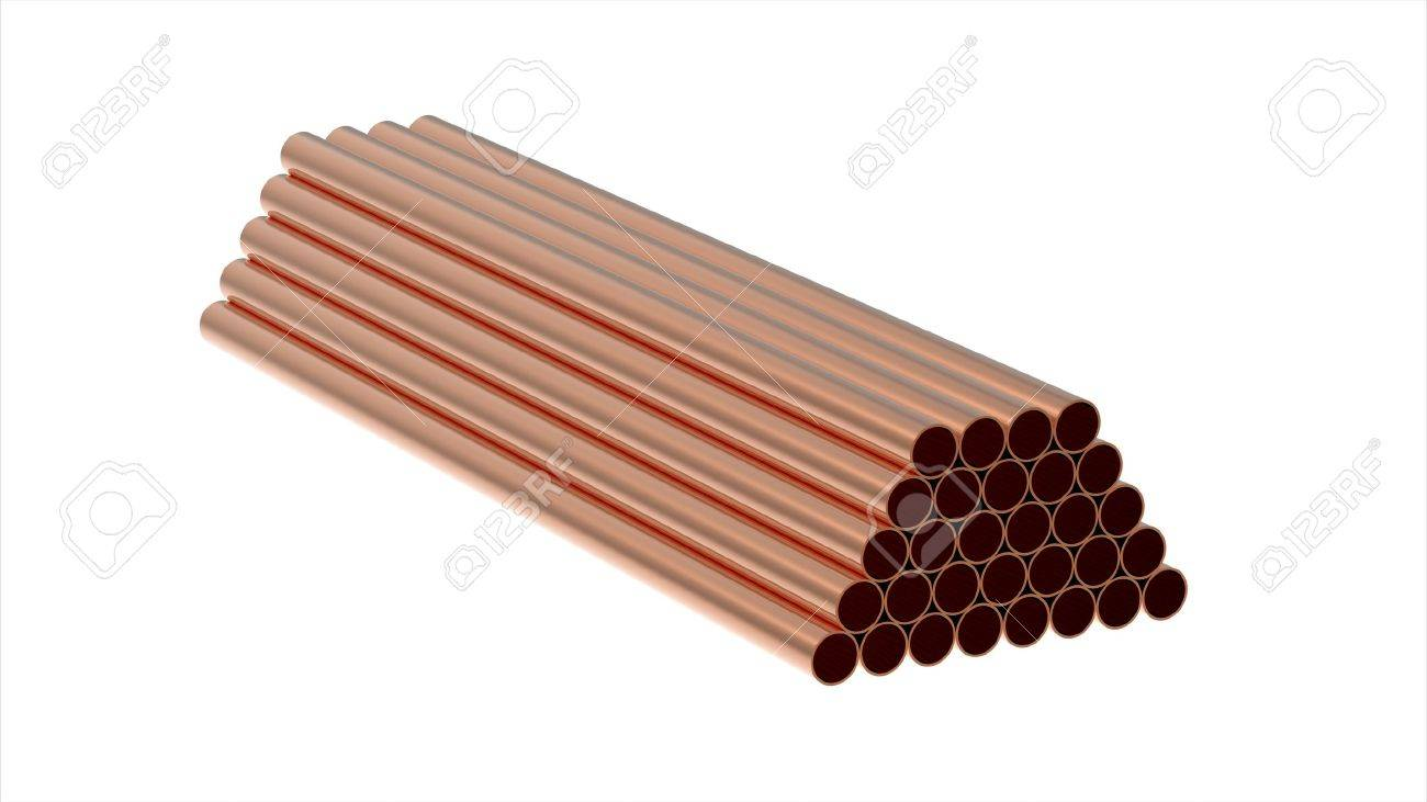 Stack of copper tubes isolated on white 3d render Stock Photo - 8255511