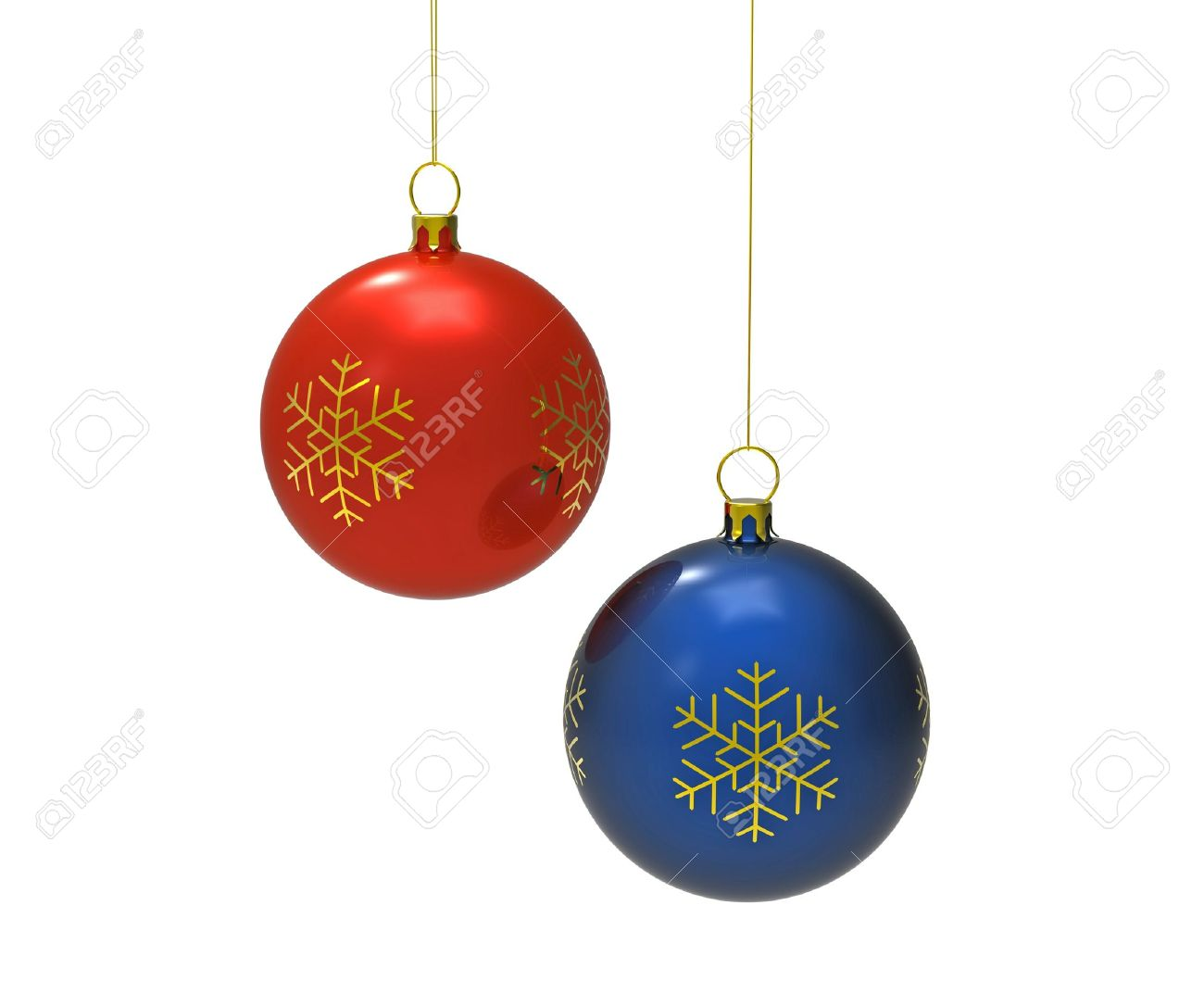 Red white and blue christmas ornaments - Red And Blue Christmas Balls Isolated On White 3d Render Stock Photo 8359458