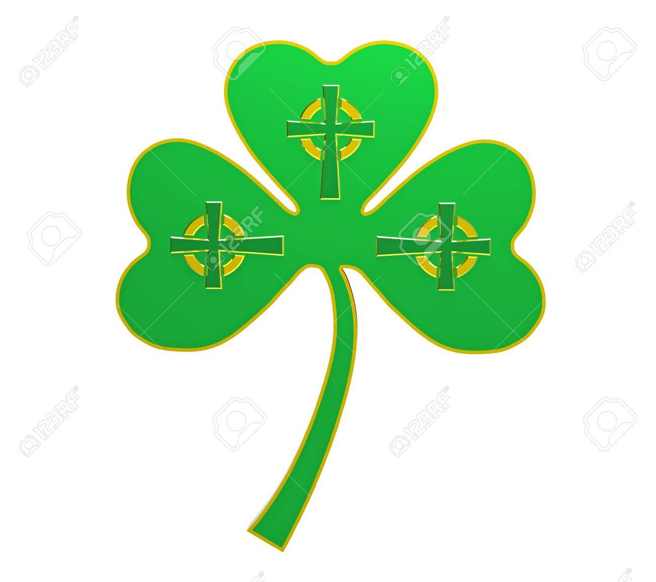 Clover with celtic crosses, isolated on white 3d render Stock Photo - 8783805