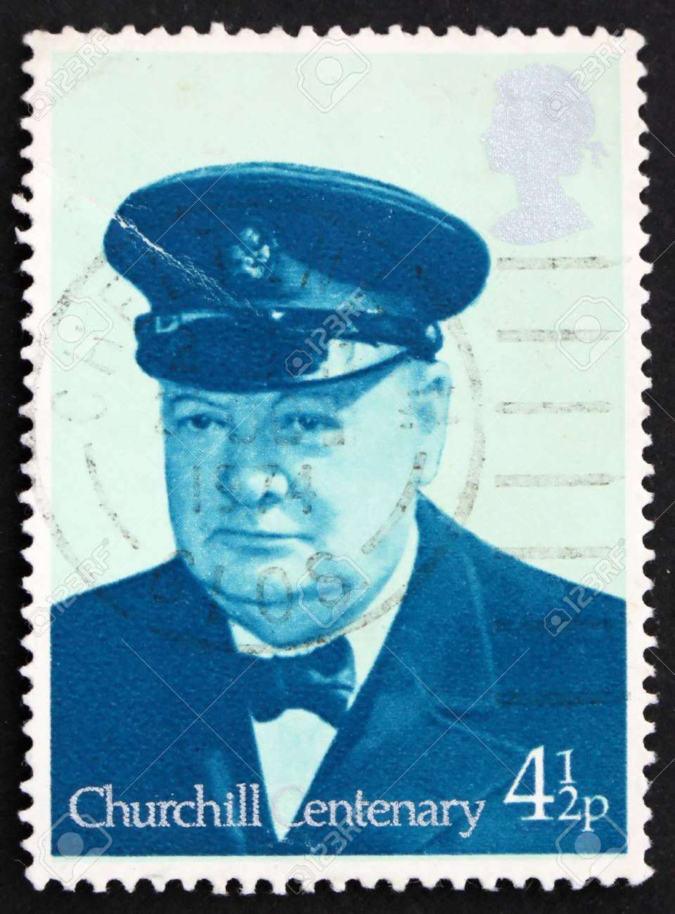 GREAT BRITAIN � CIRCA 1974: a stamp printed in the Great Britain shows Sir Winston Spencer Churchill British statesman, circa 1974 Stock Photo - 10205161
