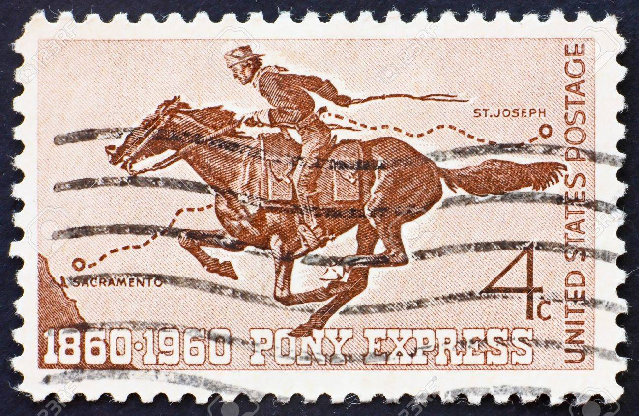 UNITED STATES OF AMERICA - CIRCA 1960: a stamp printed in the United States of America shows Pony Express Rider, circa 1960 Stock Photo - 10205170