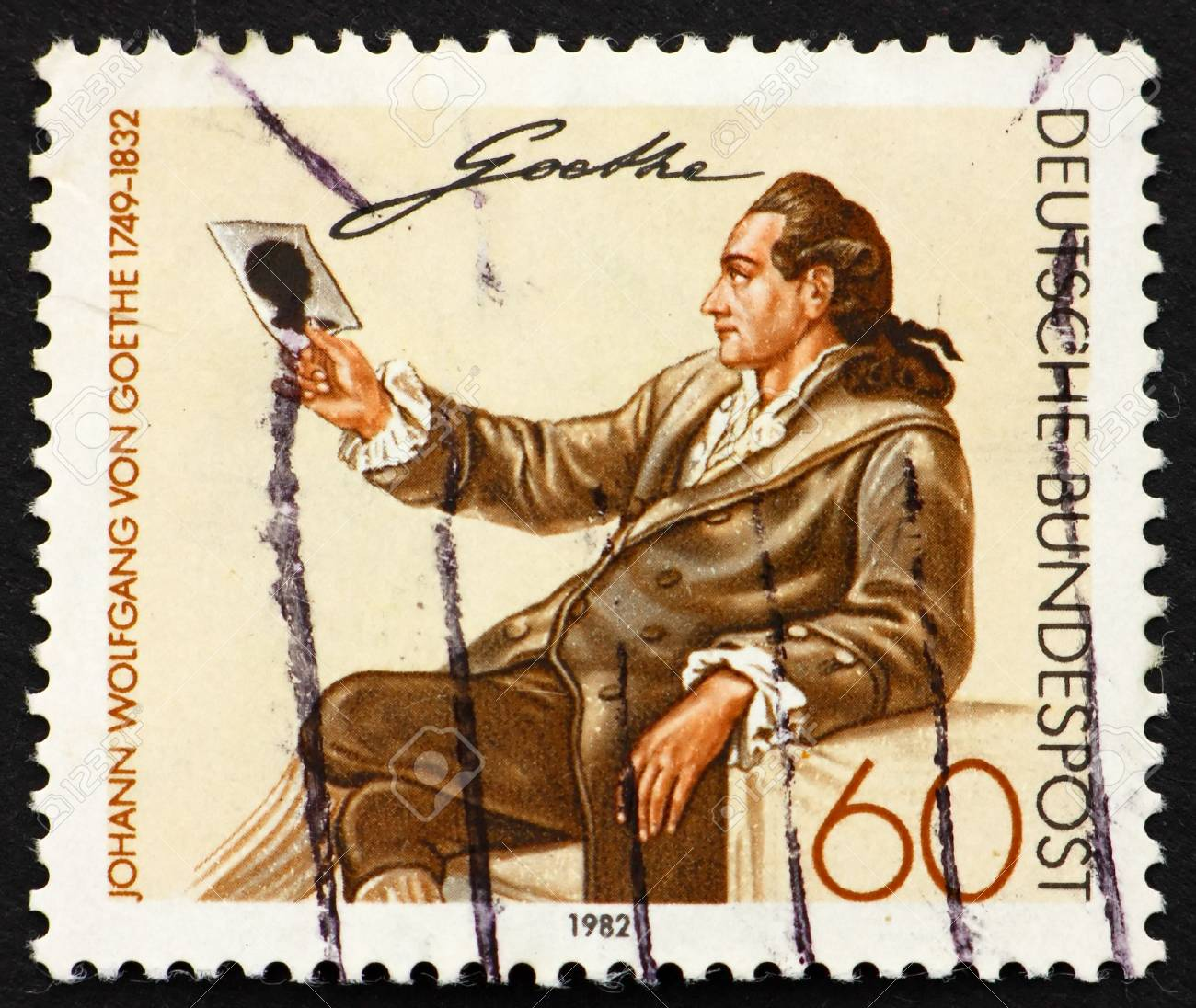 GERMANY - CIRCA 1982: a stamp printed in the Germany shows Johann Wolfgang von Goethe, Writer and Natural Philosopher, circa 1982 Stock Photo - 11278255