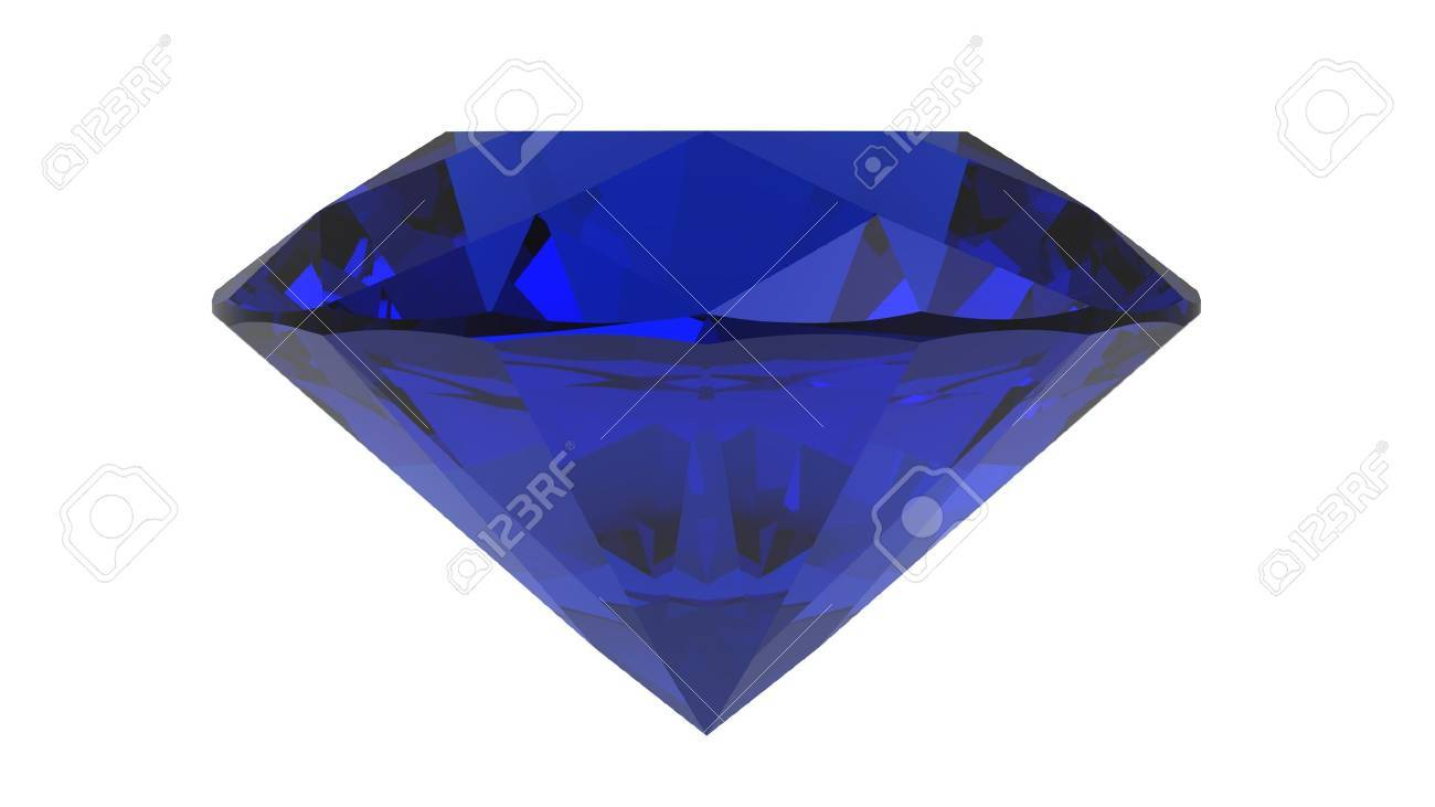 Saphire gemstone, 3d render, isolated on white Stock Photo - 11278280